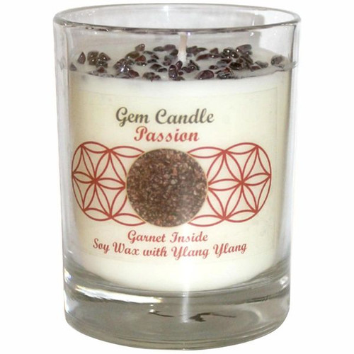 Gemstone Candle Soy Wax Fragrance Crystal Chips Passion Garnet