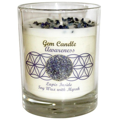 Gemstone Candle Soy Wax Fragrance Crystal Chips Awareness Lapis Lazuli