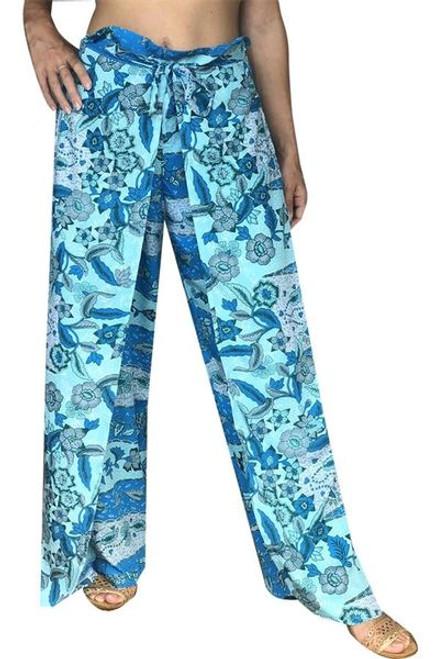 Sundrenched Wrap Pants Aqua Rivers Freesize 10-16