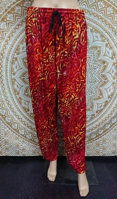 Sundrenched Red, Orange, Yellow Batik Happy Pants