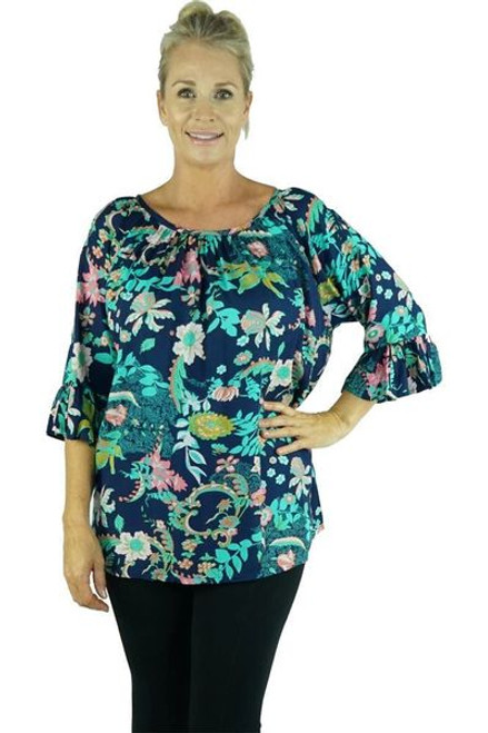 Capri Bloom Navy Top