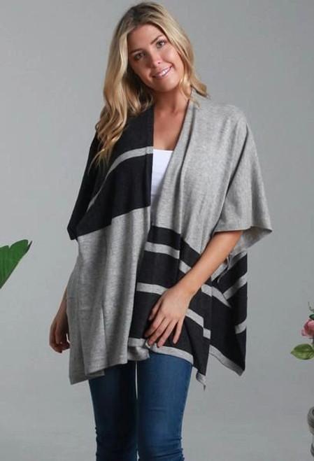 Isabella Boho Black/Grey Cardigan Freesize