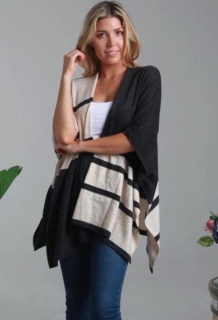 Isabella Boho Black/Cream Cardigan Freesize