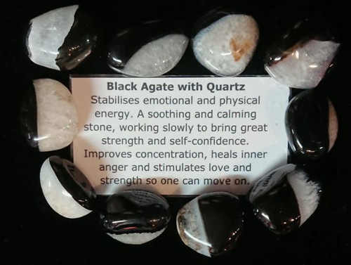 Black Agate with Quartz Tumble Stone