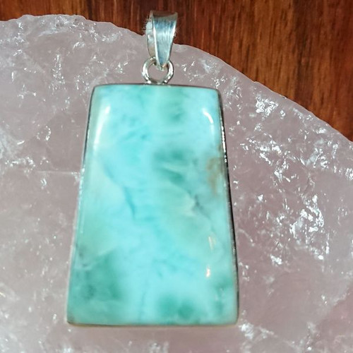 Trapezoid Larimar 925 Sterling Silver Pendant