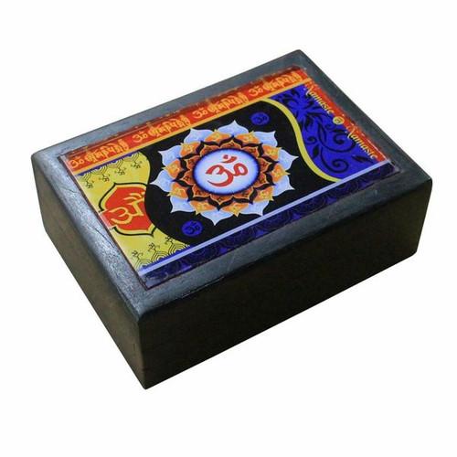 Om Black Wooden Box