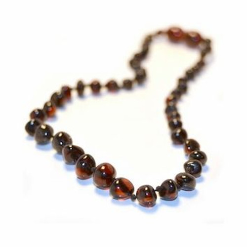 Genuine Baltic Amber Polished Round Cherry Babies Teething Necklace