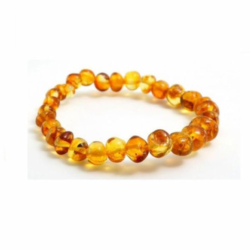 Genuine Baltic Amber Polished Round Honey Women's Bracelet