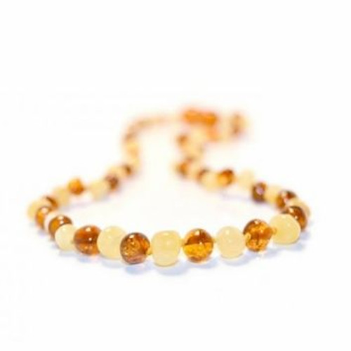 Genuine Baltic Amber Butterscotch & Milk Round Babies Teething Necklace