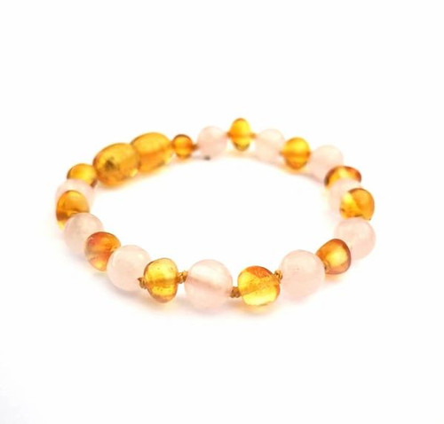 Genuine Baltic Polished Amber and Rose Quartz Babies Bracelet/Anklet