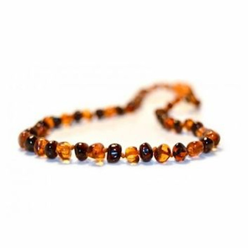 Genuine Baltic Amber Polished Round Cherry/Butterscotch Babies Teething Necklace