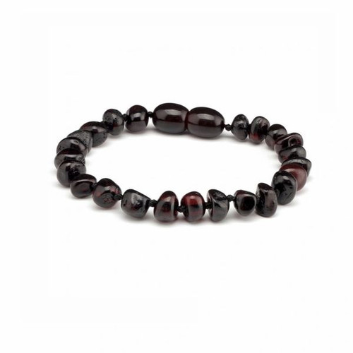 Genuine Baltic Amber Polished Round Cherry Babies Teething Bracelet/Anklet