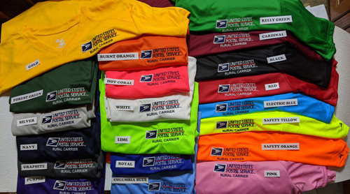 "Yeah! Finally got a picture added. 20 colors to choose from in the Ladies ""V-Neck"" short Sleeve Moisture Wicking."