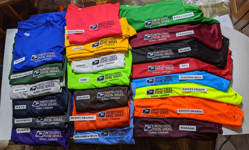 "Wow! We now have 21 colors in the ""Crew Neck"" Moisture Wicking shirts."