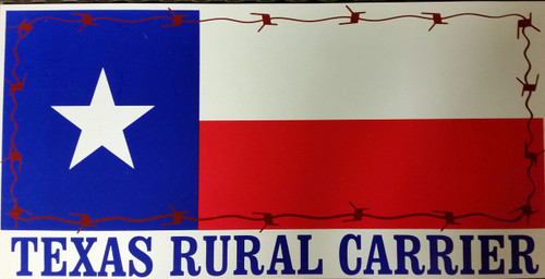 "These are our newly designed Texas Rural Carrier Door Protectors. 12"" x 24"". We have added the ""Rustic Barbed Wire"" around the flag to give it a little more distinction. Already have gotten good reviews on this magnet."