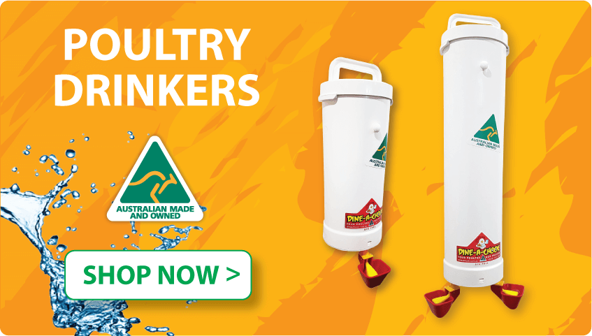 Poultry Drinkers | Automatic drinkers for chickens, ducks and geese. Provides fresh, clean water to your poultry, Australian made | Dine A Chook