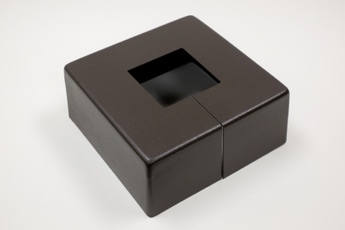 "Square 12"" x 12"" Base Cover with 5"" x 5"" Square Opening - 4 1/2"" Tall - Bronze Paint Finish"