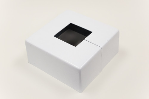 "Square 14"" x 14"" Base Cover with 5"" x 5"" Square Opening - 4 1/2"" Tall - White Paint Finish"