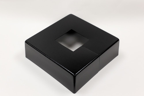"Square 14"" x 14"" Base Cover with 3"" x 3"" Square Opening - 4 1/2"" Tall - Black Paint Finish"