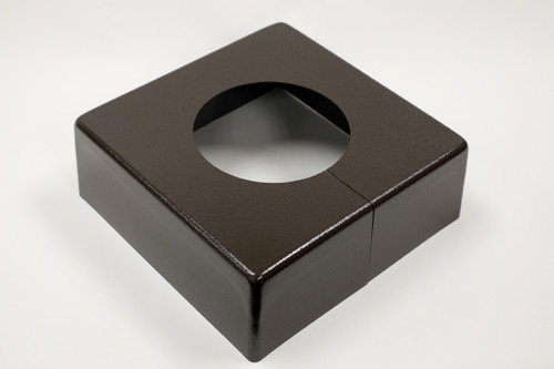"Square 10"" x 10"" Base Cover with 5"" Diameter Round Opening - 4 1/2"" Tall - Bronze Paint Finish"
