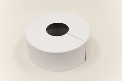 "Round 10"" Diameter Base Cover with 4"" Round Opening - 4 1/2"" Tall - White Paint Finish"