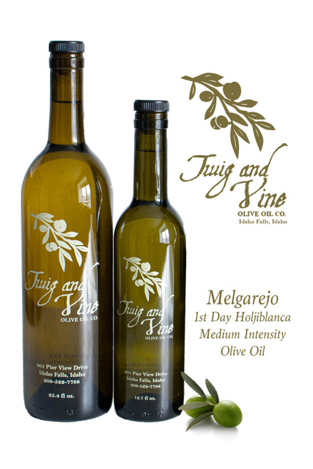 Melgarejo 1st Day Hojiblanca Medium Intensity Olive Oil available at Love at First Bite Mercantile in Idaho Falls, Idaho | Twig & Vine Olive Oil Co.