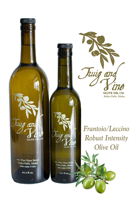 Frantoio-Leccino Extra Virgin Olive Oil Robust Intensity available at Love At First Bite Mercantile in Idaho Falls, Idaho | Twig & Vine Olive Oil Co.