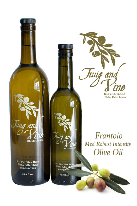 Frantoio Medium Robust Intensity Olive Oil available at Love At First Bite Mercantile in Idaho Falls, Idaho | Twig & Vine Olive Oil Co.