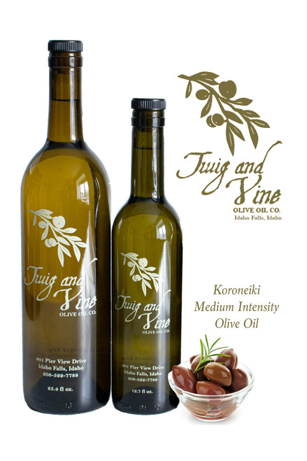 Koroneiki Medium Intensity Olive Oil available at Love At First Bite Mercantile in Idaho Falls, Idaho | Twig & Vine Olive Oil Co.