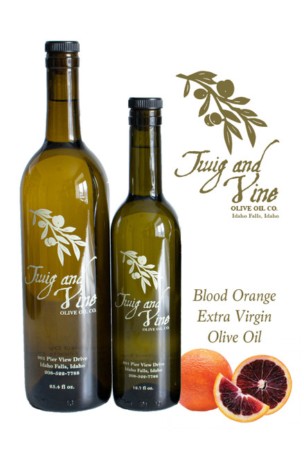 Blood Orange Extra Virgin Olive Oil available at Love At First Bite Mercantile in Idaho Falls, Idaho | Twig & Vine Olive Oil Co.