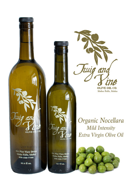 Organic Nocellara Mild Intensity Extra Virgin Olive Oil available at Love At First Bite Mercantile in Idaho Falls, Idaho | Twig & Vine Olive Oil Co.