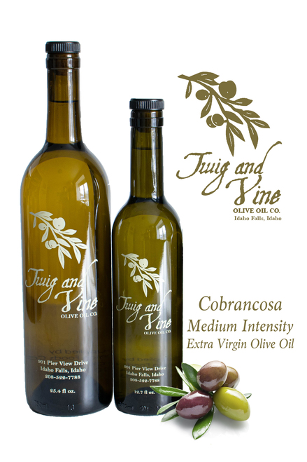 Cobrancosa Extra Virgin Olive Oil Medium Intensity available at Love At First Bite Mercantile in Idaho Falls, Idaho | Twig & Vine Olive Oil Co.