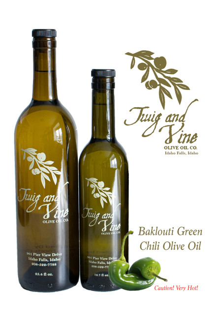 Baklouti Green Chili Olive Oil available at Love At First Bite Mercantile in Idaho Falls, Idaho