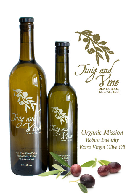 Organic Mission Robust Intensity Extra Virgin Olive Oil available at Love At First Bite Mercantile in Idaho Falls, Idaho | Twig & Vine Olive Oil Co.