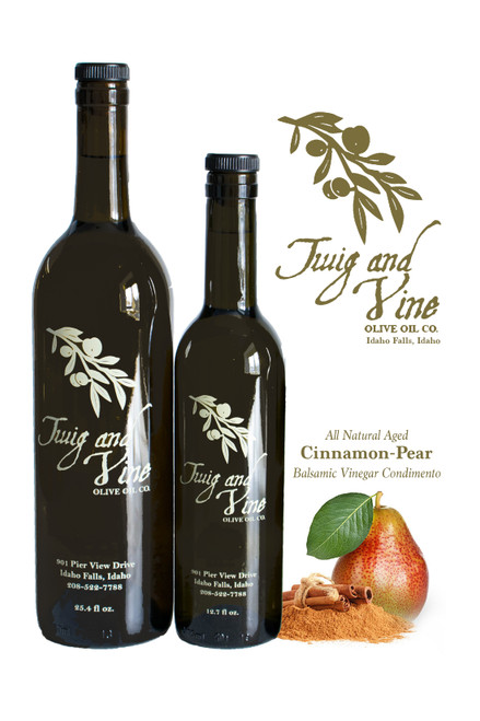 All Natural Aged Cinnamon-Pear Balsamic Vinegar Condimento available at Love At First Bite Mercantile in Idaho Falls, Idaho | Twig & Vine Olive Oil Co.