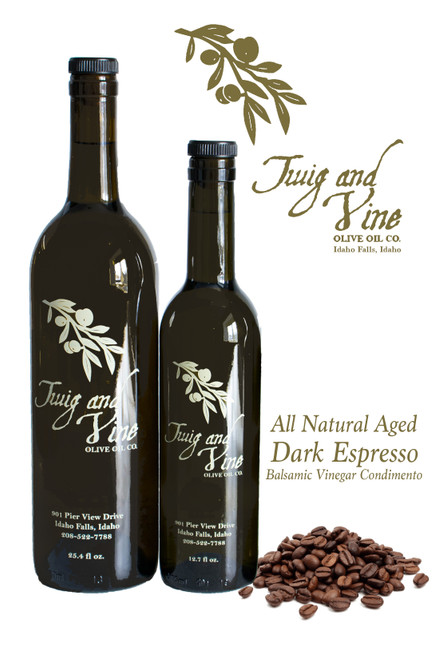 All Natural Aged Dark Espresso Balsamic Vinegar Condimento available at Love At First Bite Mercantile | Twig & Vine Olive Oil Co.