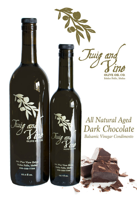 All Natural Aged Dark Chocolate Balsamic Vinegar Condimento | Available at Love At First Mercantile, Idaho Falls | Twig  & Vine Olive Oil Co.