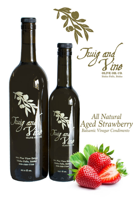All Natural Aged Strawberry Balsamic Vinegar Condimento available at Love At First Bite Mercantile in Idaho Falls, Idaho | Twig & Vine Olive Oil Co.