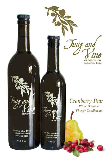 Cranberry-Pear White Balsamic Vinegar available at Love At First Bite Mercantile in Idaho Falls, Idaho | Twig & Vine Olive Oil Co.