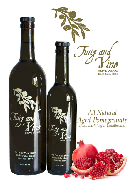 All Natural Aged Pomegranate Balsamic Vinegar Condimento available at Love At First Bite Mercantile in Idaho Falls, Idaho | Twig & Vine Olive Oil Co.