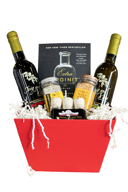 Olive Oil, Balsalmic Vinegar and Seasonings Gift Basket at Love At First Bite Mercantile in Idaho Falls, Idaho