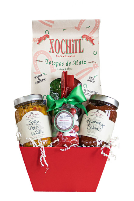 Holiday Man Gift Basket with Chips & Salsa available at Love At First Bite Mercantile in Idaho Falls, Idaho