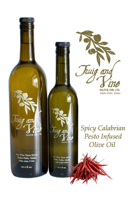 Spicy Calabrian Pesto Infused Olive Oil available at Love At First Bite Mercantile in Idaho Falls, Idaho | Twig & Vine Olive Oil Co.