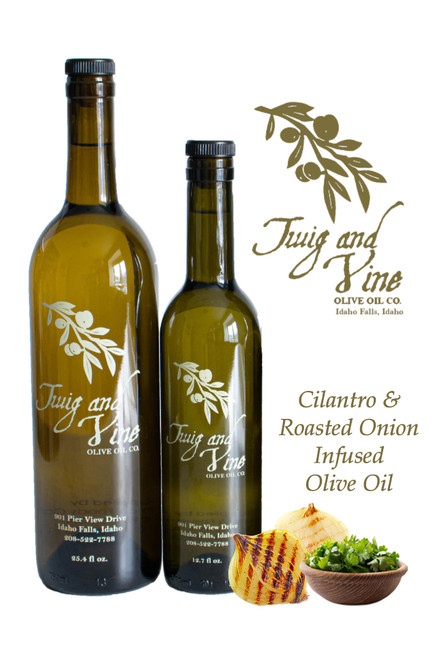 Cilantro & Roasted Onion Infused Olive Oil available at Love At First Bite Mercantile in Idaho Falls, Idaho | Twig & Vine Olive Oil Co.