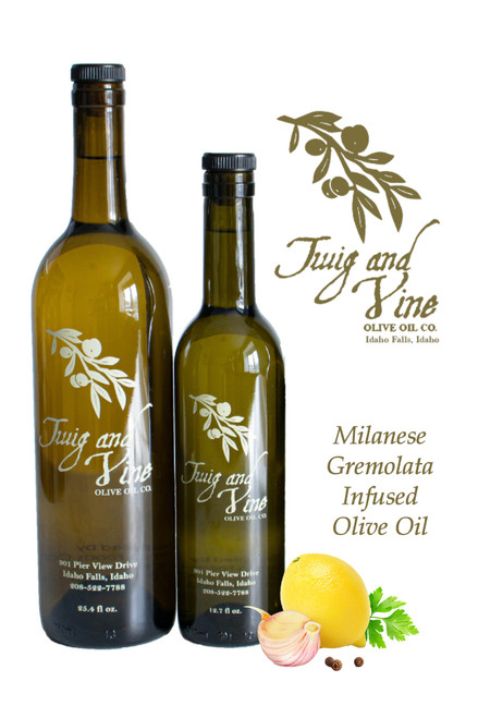 Milanese Gremolata Infused Olive Oil available at Love At First Bite Mercantile in Idaho Falls, Idaho | Twig & Vine Olive Oil Co.