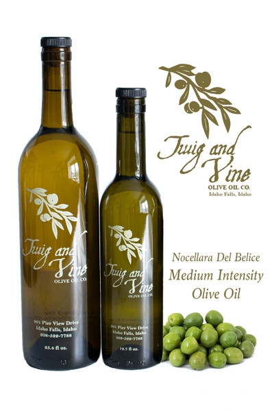 Nocellara Del Belice Medium Intensity Olive Oil available at Love At First Bite Mercantile in Idaho Falls, Idaho   Twig & Vine Olive Oil Co.