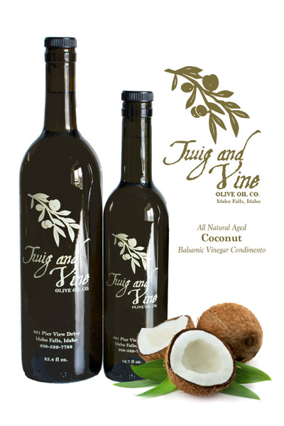 All Natural Aged Coconut Balsamic Vinegar Condimento available at Love At First Bite Mercantile in Idaho Falls, Idaho | Twig & Vine Olive Oil Co.