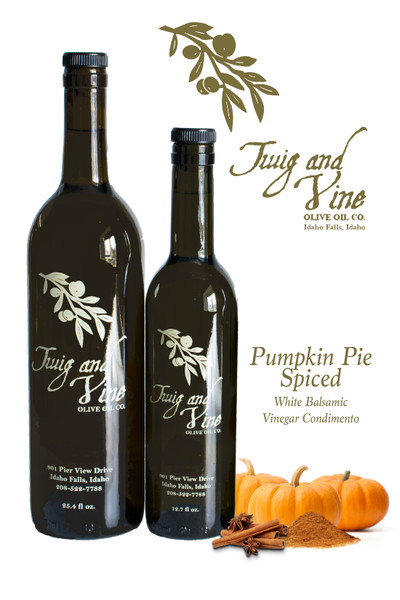 Pumpkin Pie Spiced White Balsamic Vinegar available at Love At First Bite Mercantile in Idaho Falls, Idaho | Twig & Vine Olive Oil Co.