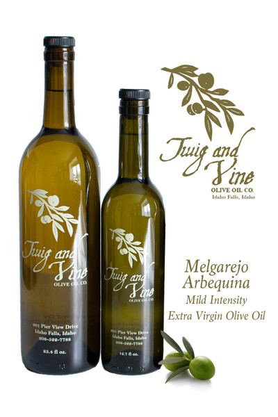 Melgarejo Arbequina Mild Intensity Extra Virgin Olive Oil available at Love At First Bite Mercantile in Idaho Falls, Idaho | Twig & Vine Olive Oil Co.