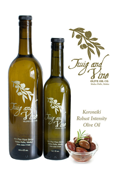 Koroneiki Robust Intensity Olive Oil available at Love At First Bite Mercantile in Idaho Falls, Idaho | Twig & Vine Olive Oil Co.